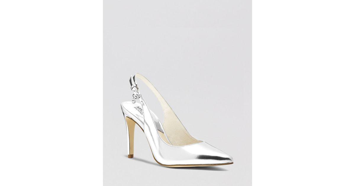 silver slingback heels