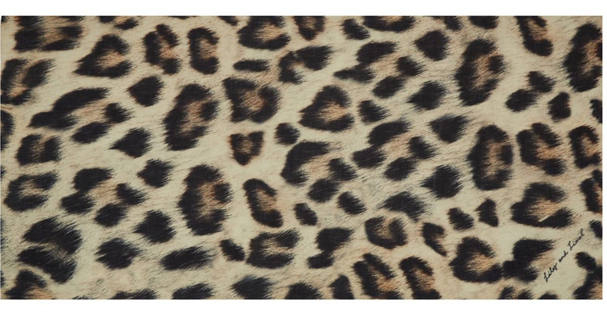 Lily and lionel Leopard Print Cleo Silk Scarf