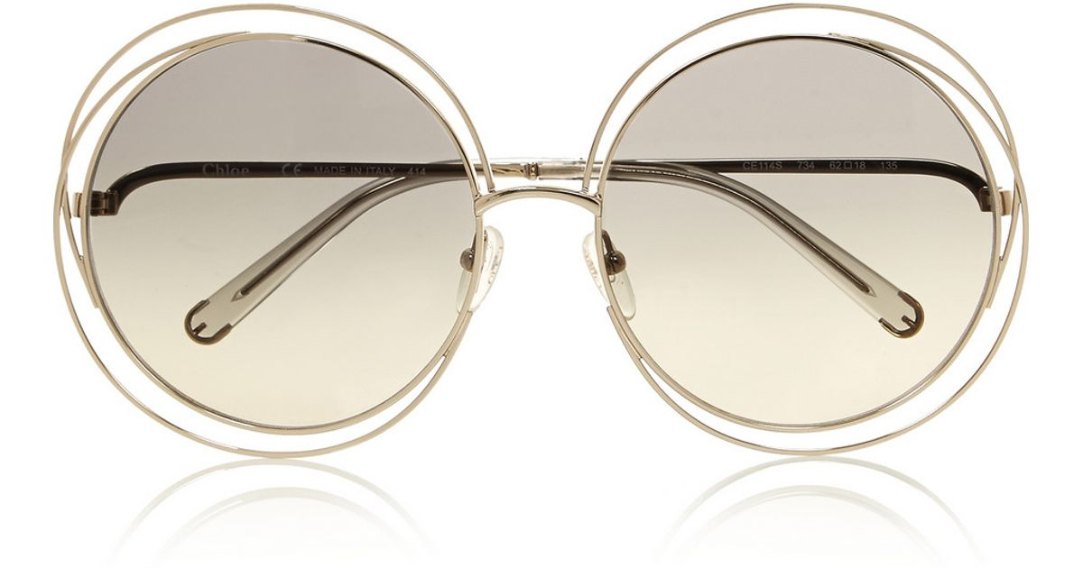 b8239c75aa Chloé Carlina Oversized Round-Frame Stainless Steel Sunglasses in Gray -  Lyst