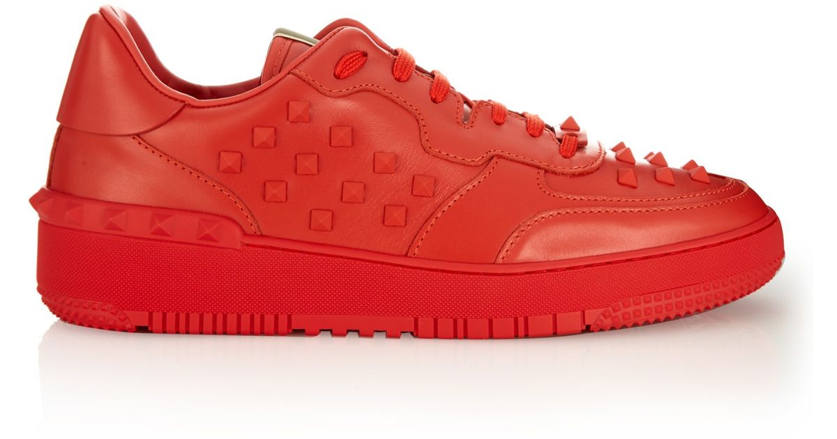 4cf157ec6011 Lyst - Valentino Rockstud Leather Low-top Trainers in Red for Men