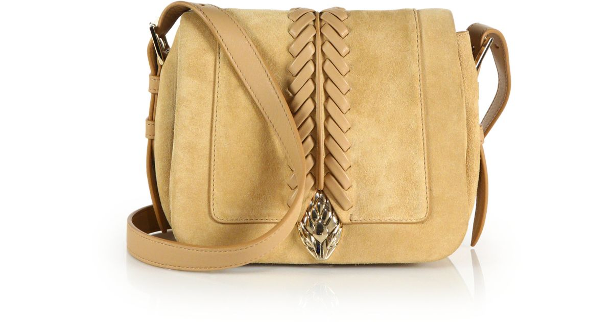e4be0fadfa78 Roberto Cavalli Whipstitched Suede & Leather Crossbody Bag in Brown - Lyst