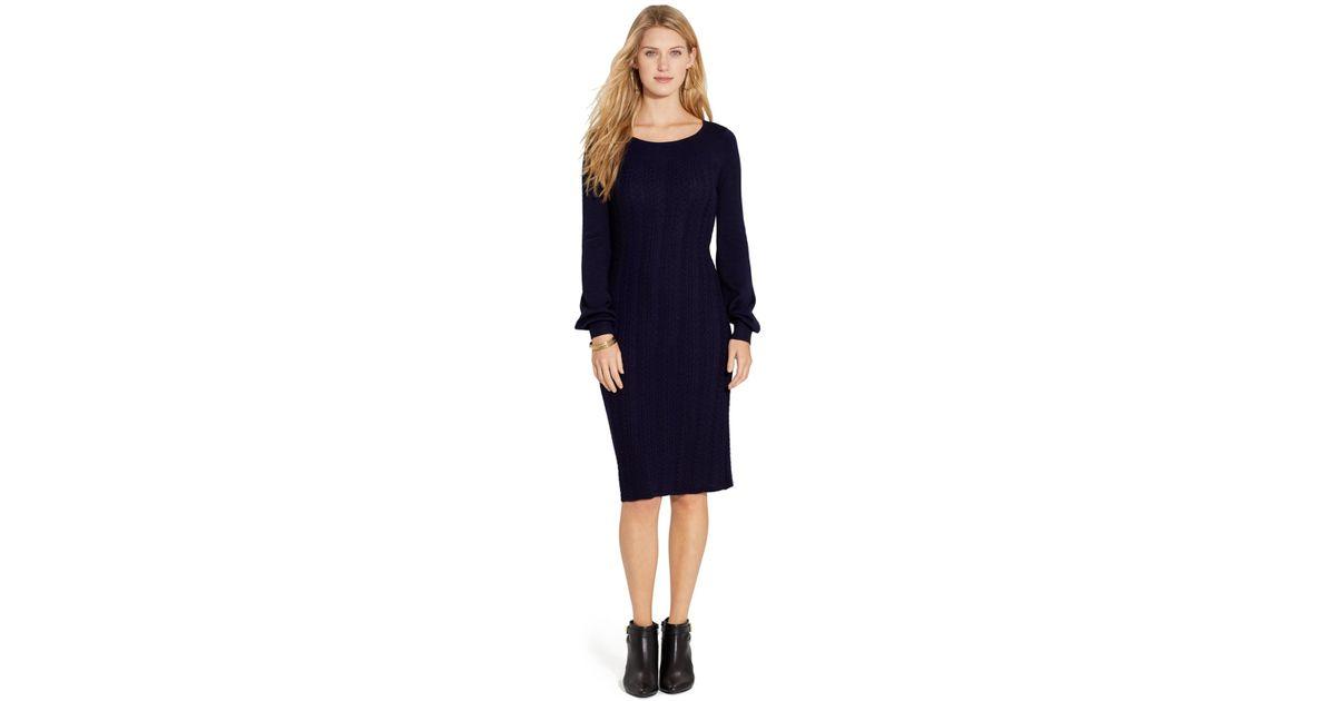 6e6bc5b4e22 Lyst - Lauren by Ralph Lauren Petite Long-Sleeve Cable-Knit Sweater Dress  in Blue