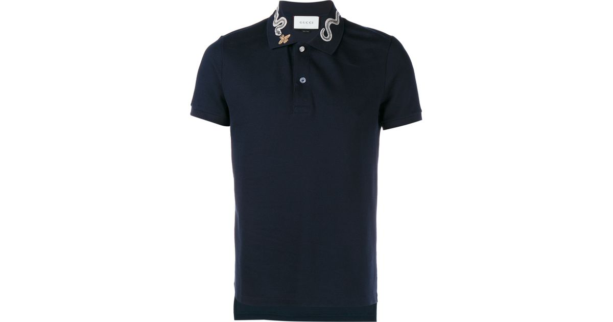 f5c41d8cc Gucci Snake And Bee Collar Polo Shirt in Blue for Men - Lyst