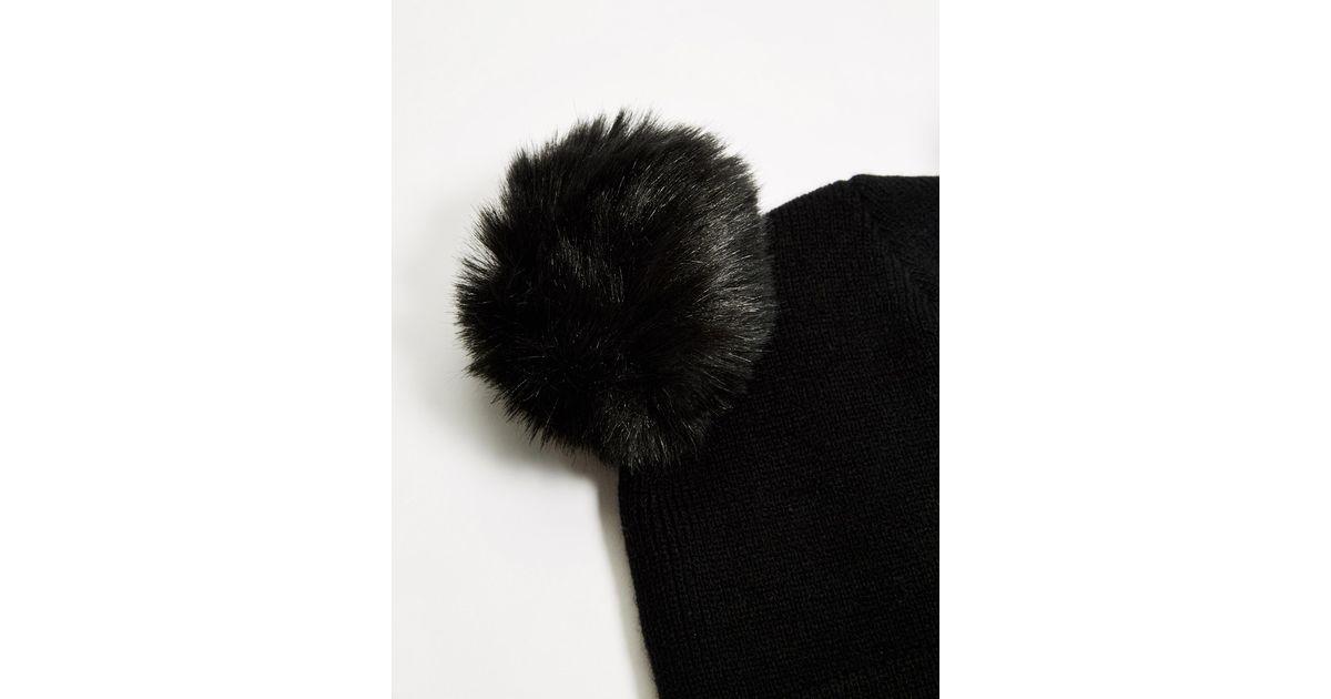 Lyst - Monki Pom Ears Beanie Hat in Black f129170b385