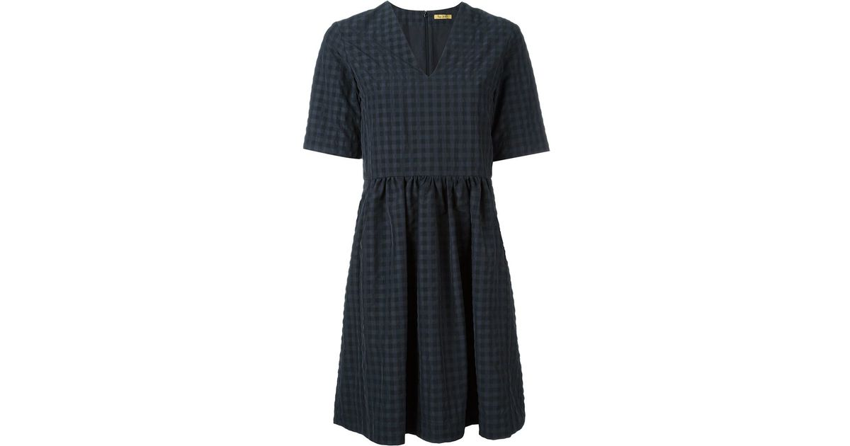 checked belt dress in black save 50 lyst