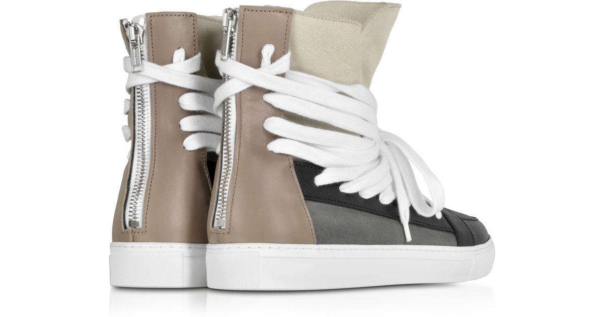 33688d1221d3f0 Lyst - Kris Van Assche Multi Brown Multilaces High Top Sneaker in Black for  Men