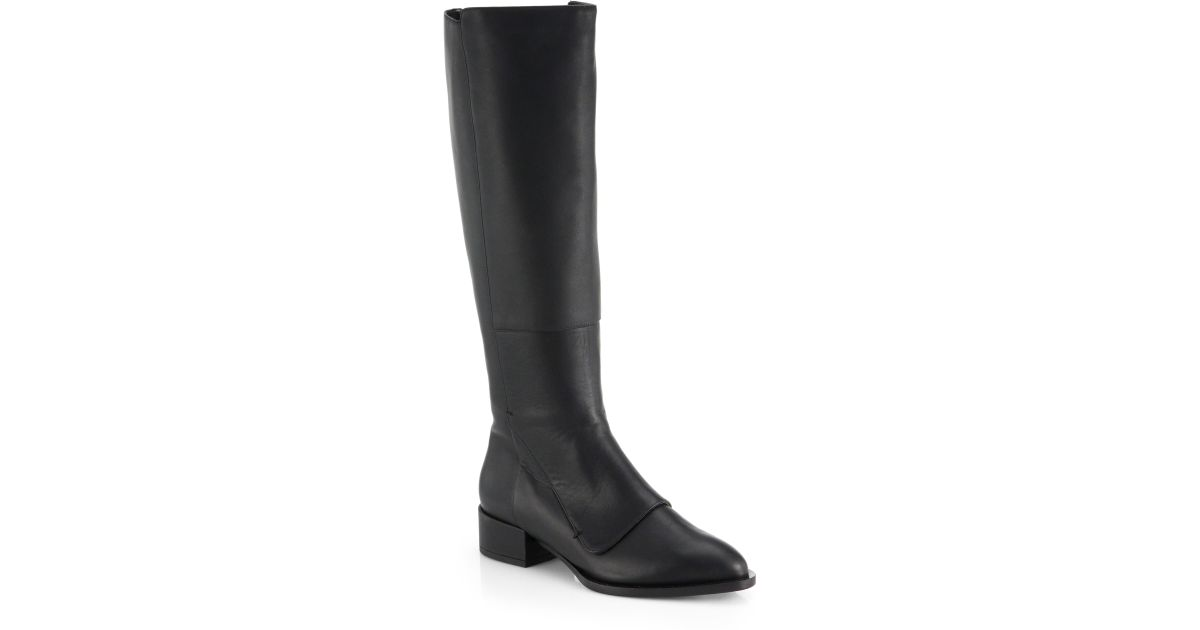 7e4b45cbedb Lyst - Vince Yilan Knee-High Leather Boots in Black