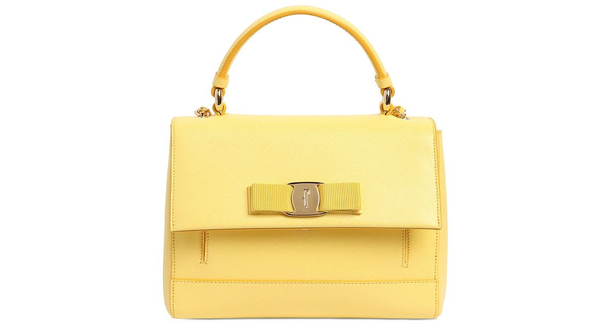 Ferragamo Small Carrie Saffiano Leather Bag in Yellow - Lyst