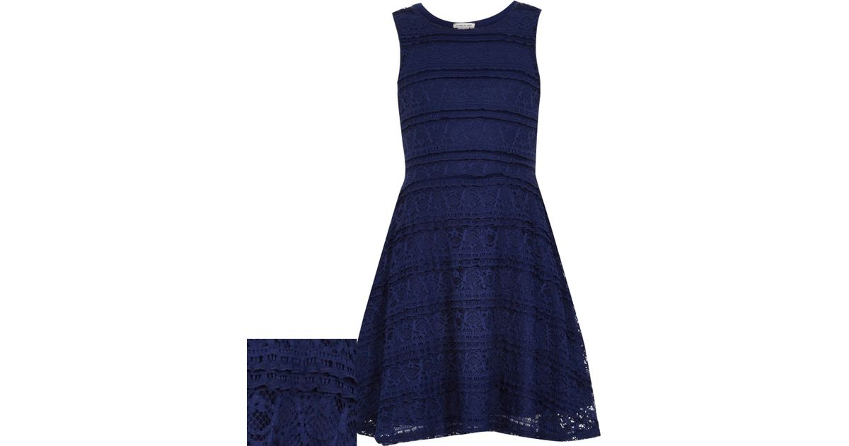 Navy Blue Skater Dress River Island