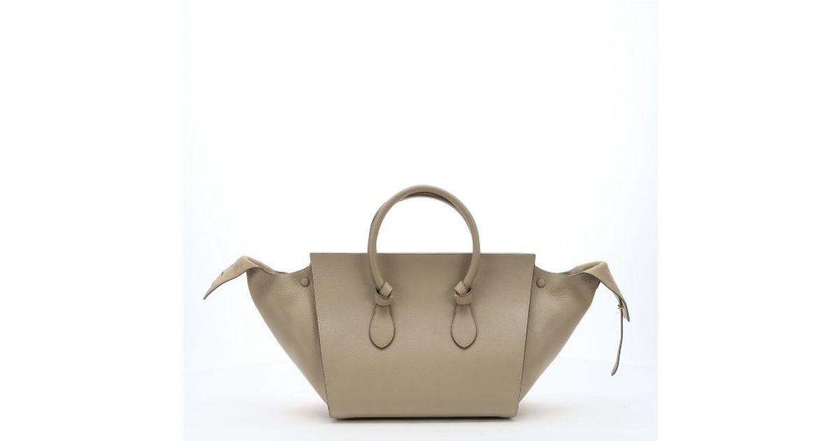 celine ecru leather handbag trapeze