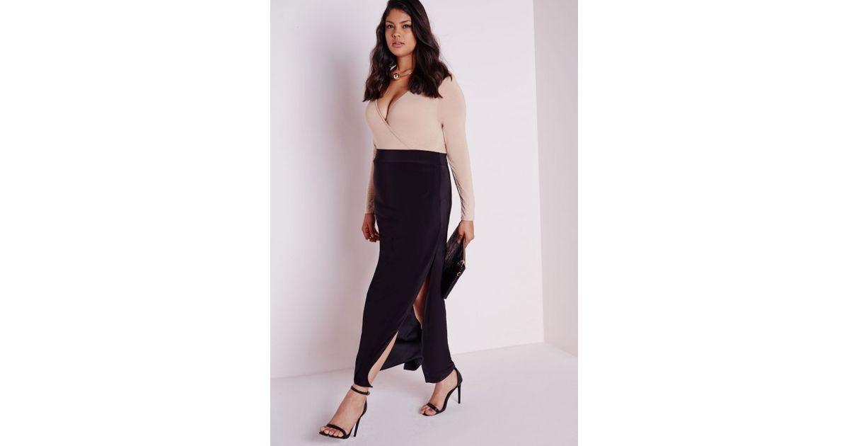 1cd21c25d2c87 Lyst - Missguided Plus Size Double Split Maxi Skirt Black in Black