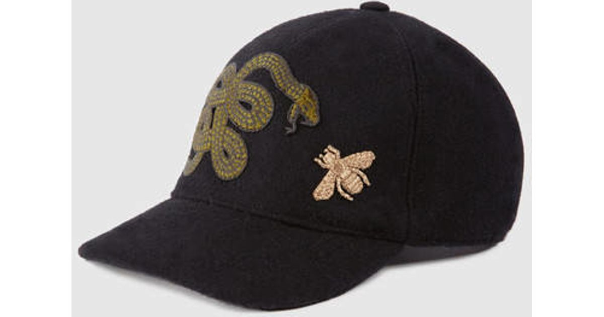 942ef34c84e31 Lyst - Gucci Felt Hat With Snake And Bee in Black for Men