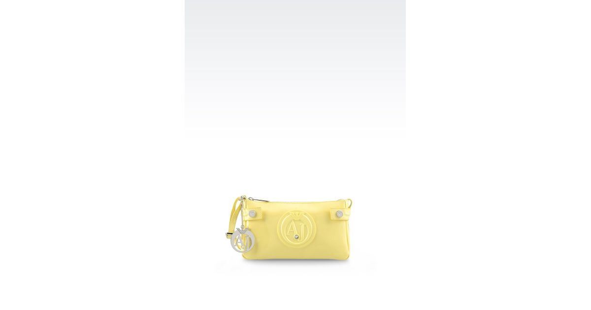 d2b3330770 Lyst - Armani Jeans Baguette Bag In Patent Faux Leather With Pendant in  Yellow