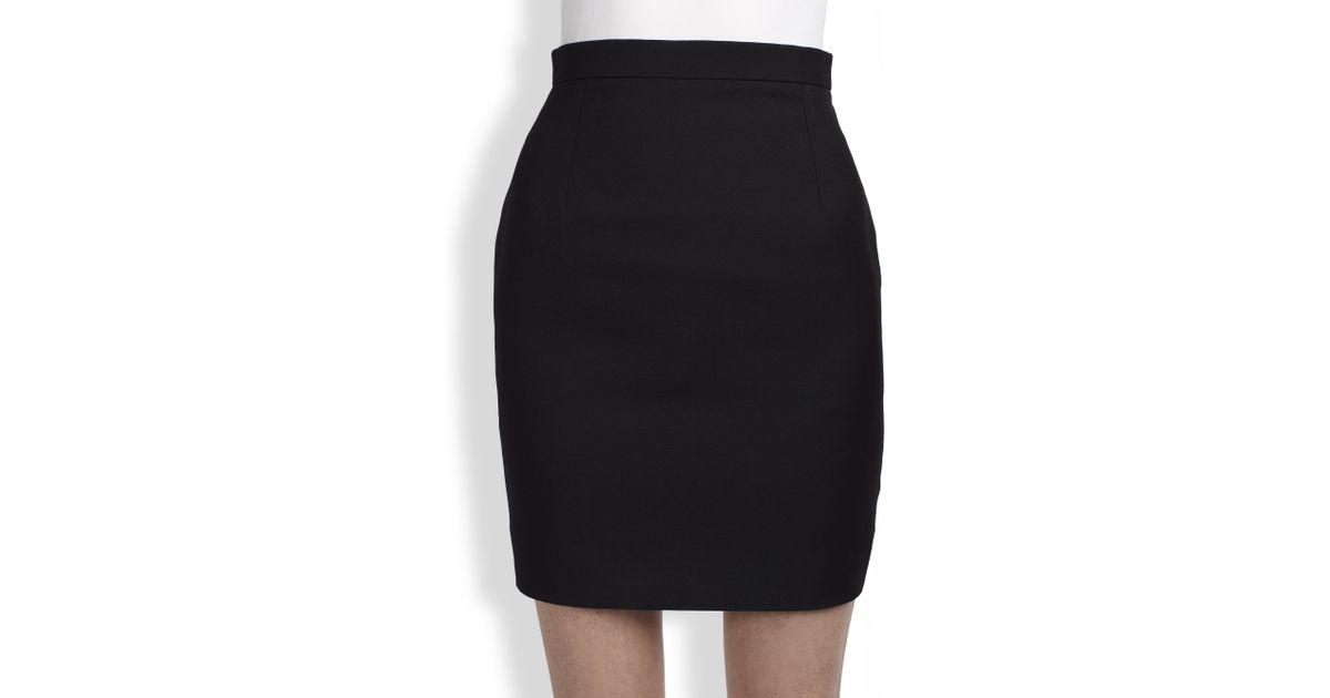 Lyst Saint Laurent Mini Pencil Skirt In Black