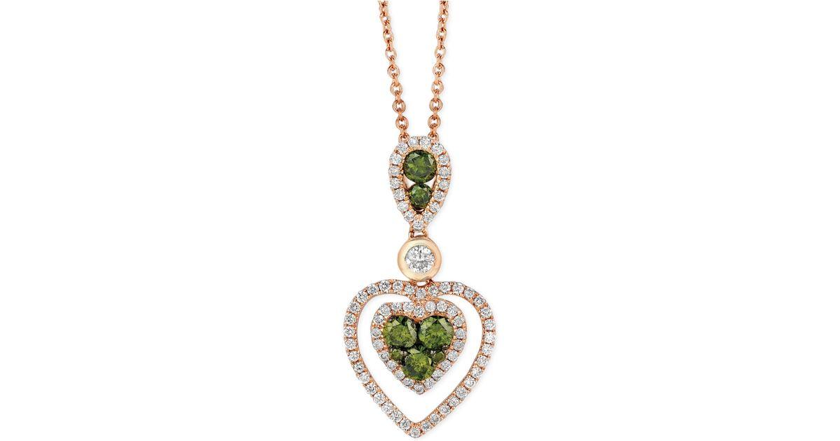 Le vian Exotics® Green And White Diamond Heart Pendant ...
