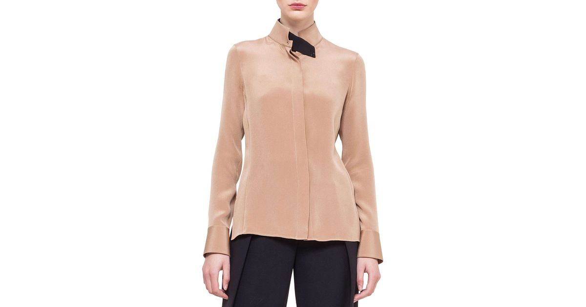 Stand Collar Blouse Designs Images : Akris stand collar silk blouse in pink lyst