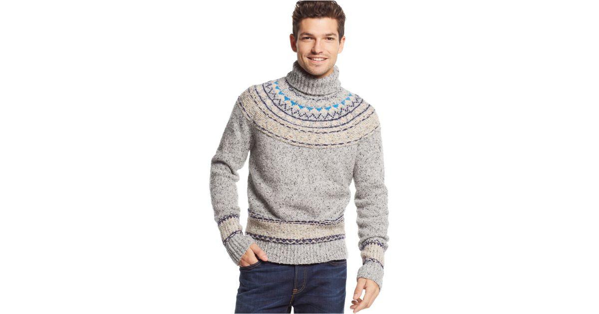 Lyst - Tommy hilfiger New Pelham Fair Isle Turtleneck Sweater in ...