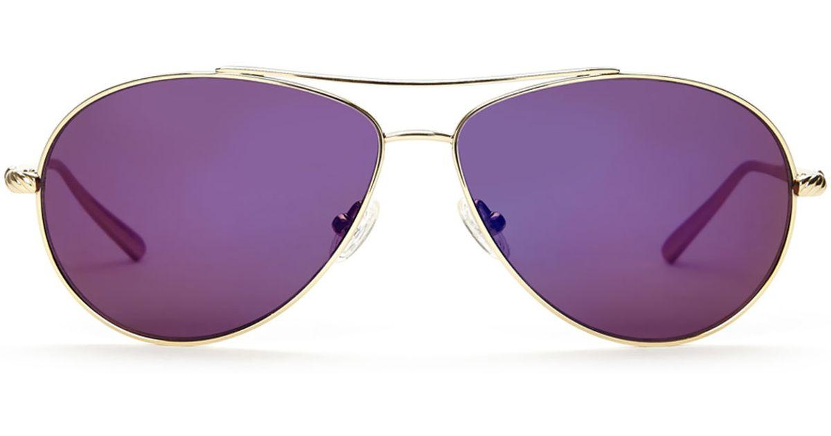 b547ae57fe9e David Yurman Dy039 Gold-Tone Purple Tinted Aviator Sunglasses in Metallic -  Lyst