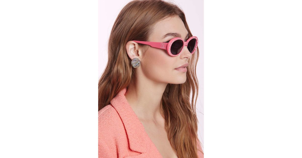 569e1296a785 Lyst - Nasty Gal Vintage Chanel Rhinestone Sunglasses in Pink
