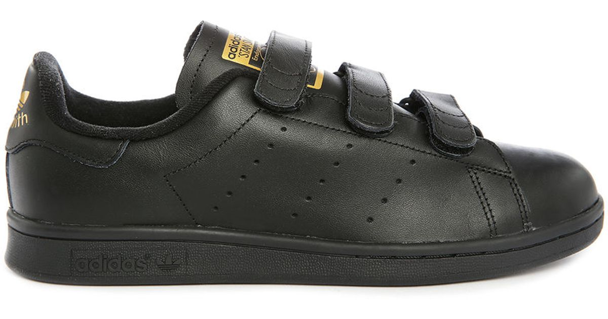 adidas originals stan smith leather velcro sneakers in black for men lyst. Black Bedroom Furniture Sets. Home Design Ideas
