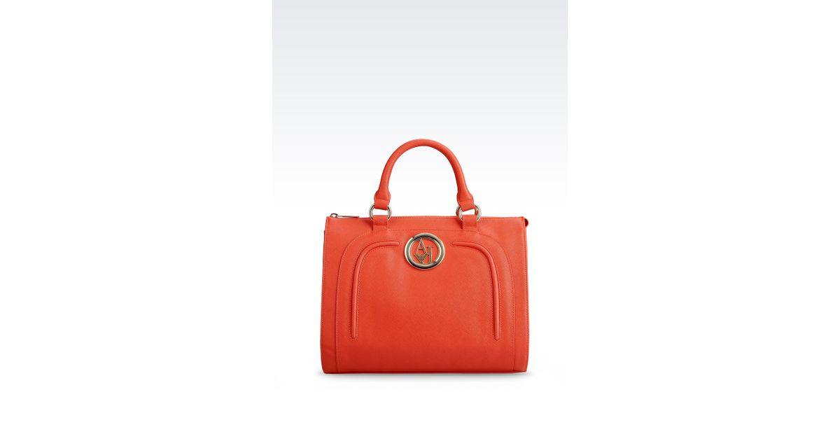 77784de168 Lyst - Armani Jeans Bauletto Bag in Faux Saffiano Leather with Logo in  Orange