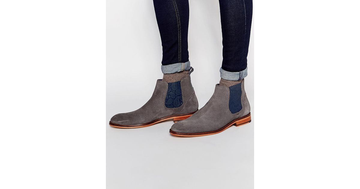 7fa7f3a39347b1 Lyst - Ted Baker Camroon Suede Chelsea Boots - Grey in Gray for Men