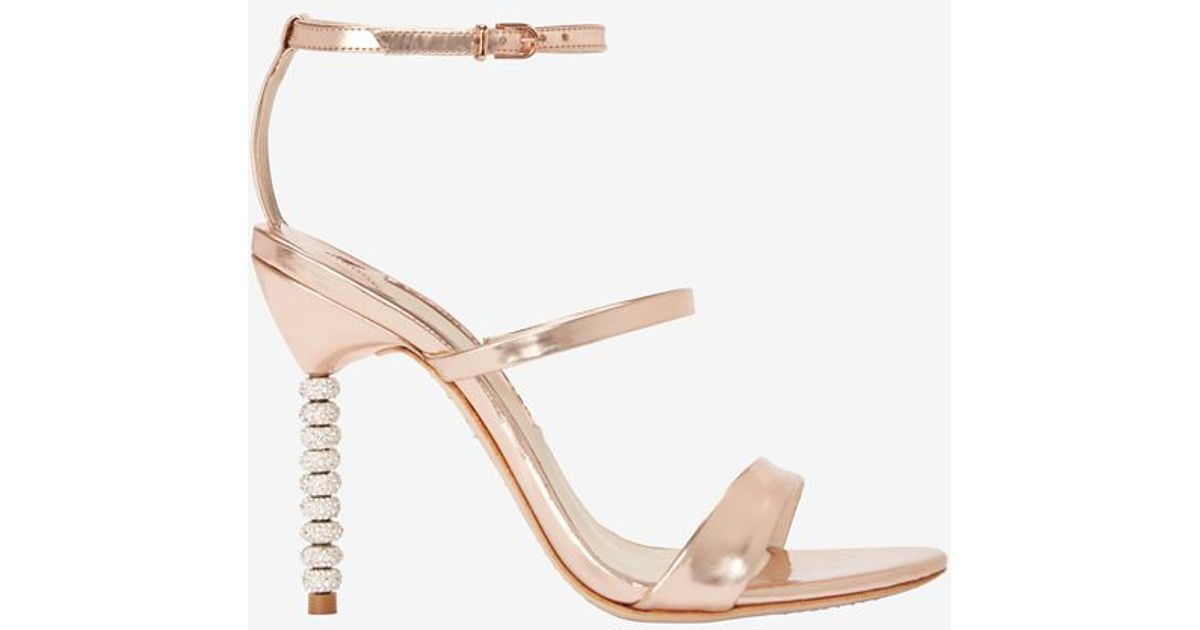 cfc397e08 Lyst - Sophia Webster Rosalind Triple Strap Crystal Heel Sandal in Metallic