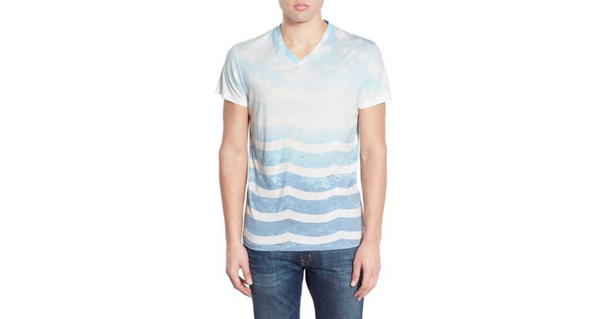 Lyst - Sol angeles 'marine Layer' V-neck T-shirt in Blue ...