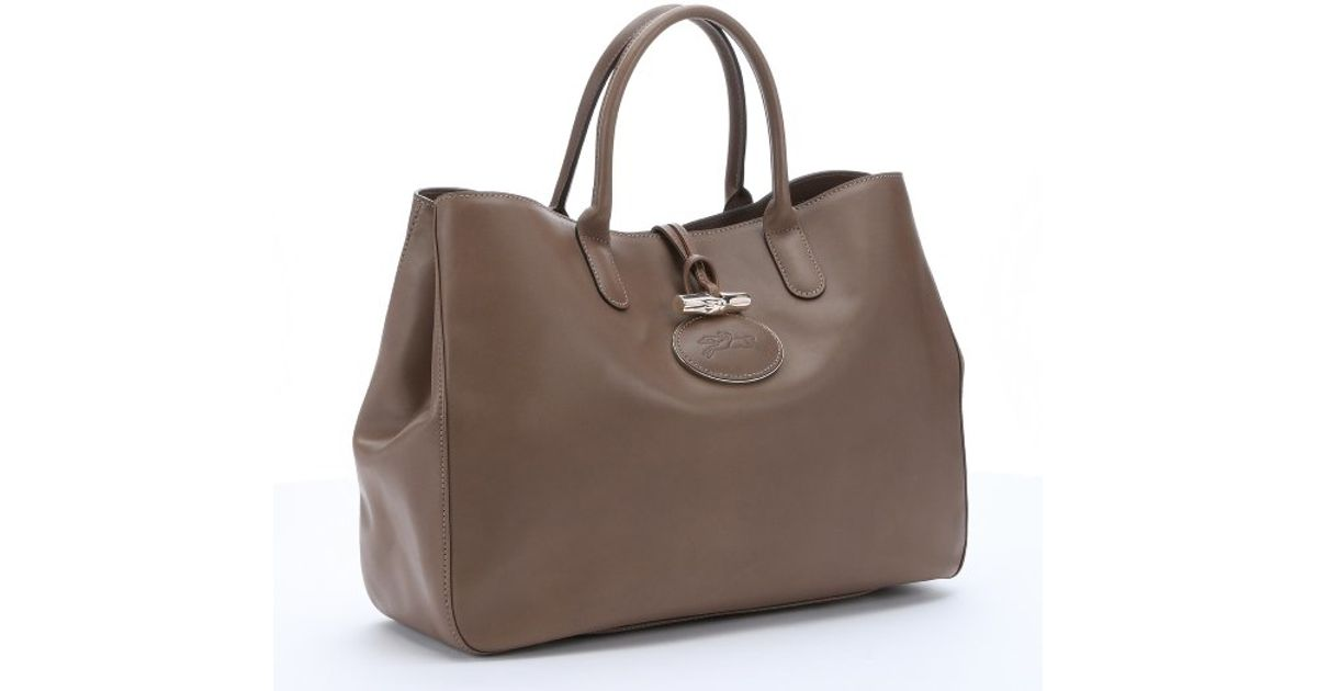Lyst Longchamp Taupe Leather Roseau Heritage Top Handle Tote In Brown