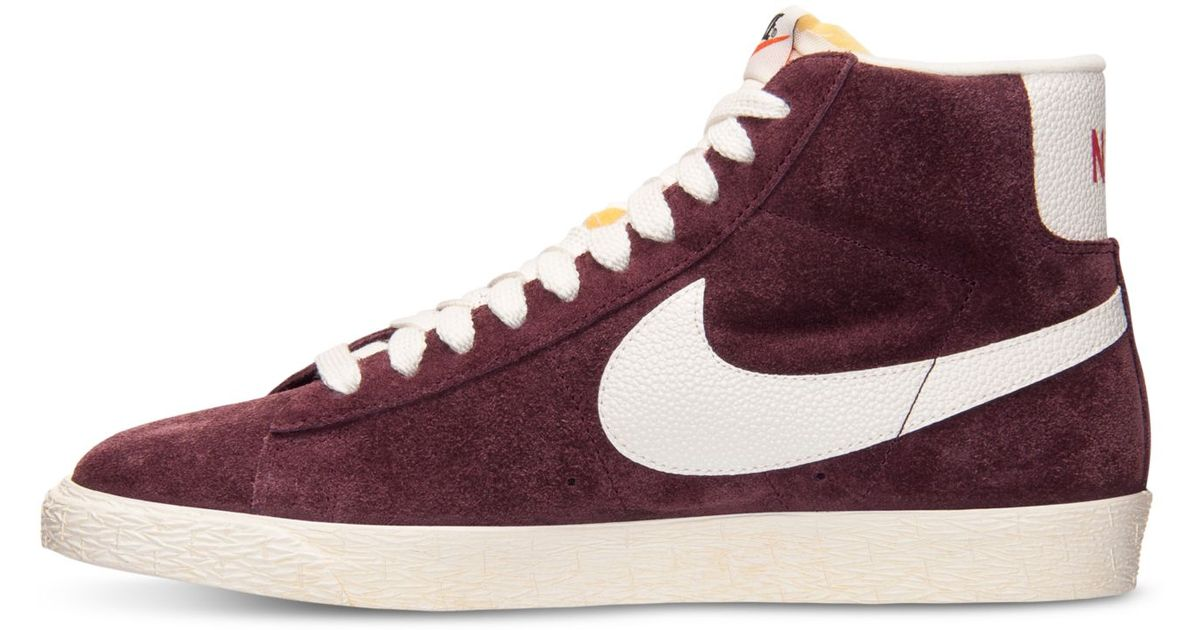 huge discount 15fdb 34353 ... Lyst - Nike WomenS Blazer Mid Suede Vintage Casual Sneakers From Finish  Line in Purple for ...