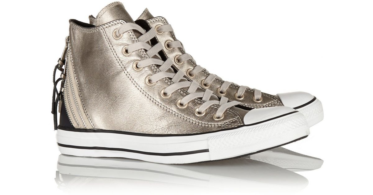 3a440756fcf7 Converse Chuck Taylor All Star Tri Zip Leather High-Top Sneakers in  Metallic - Lyst