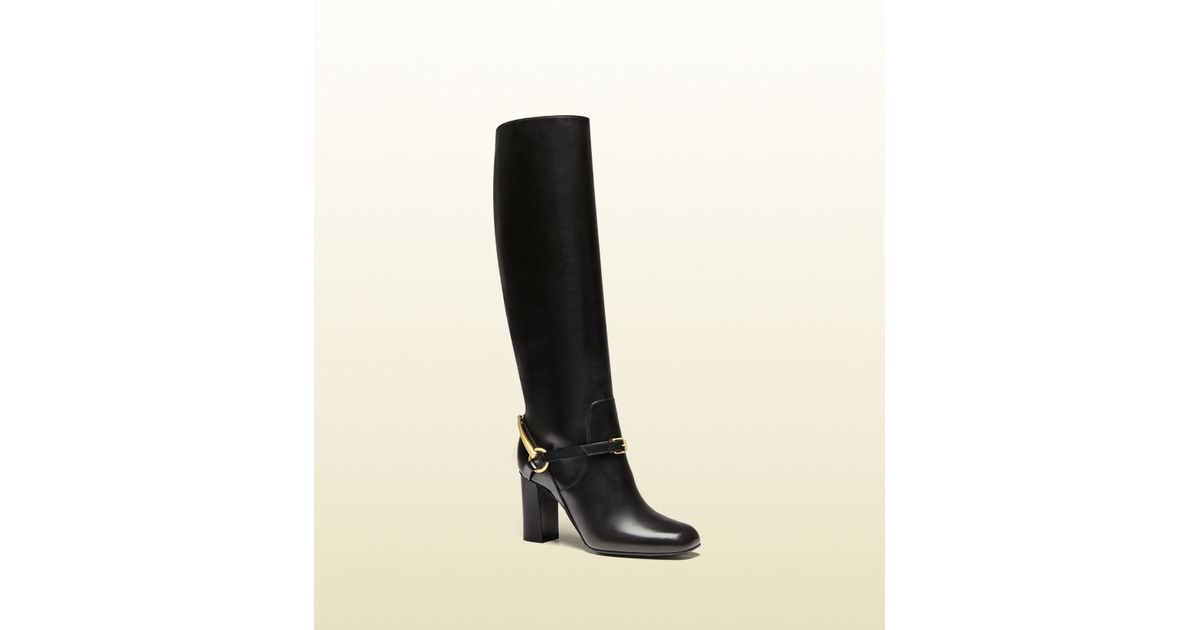 711f3e8a6 Gucci Tess Leather Horsebit Boot in Black - Lyst