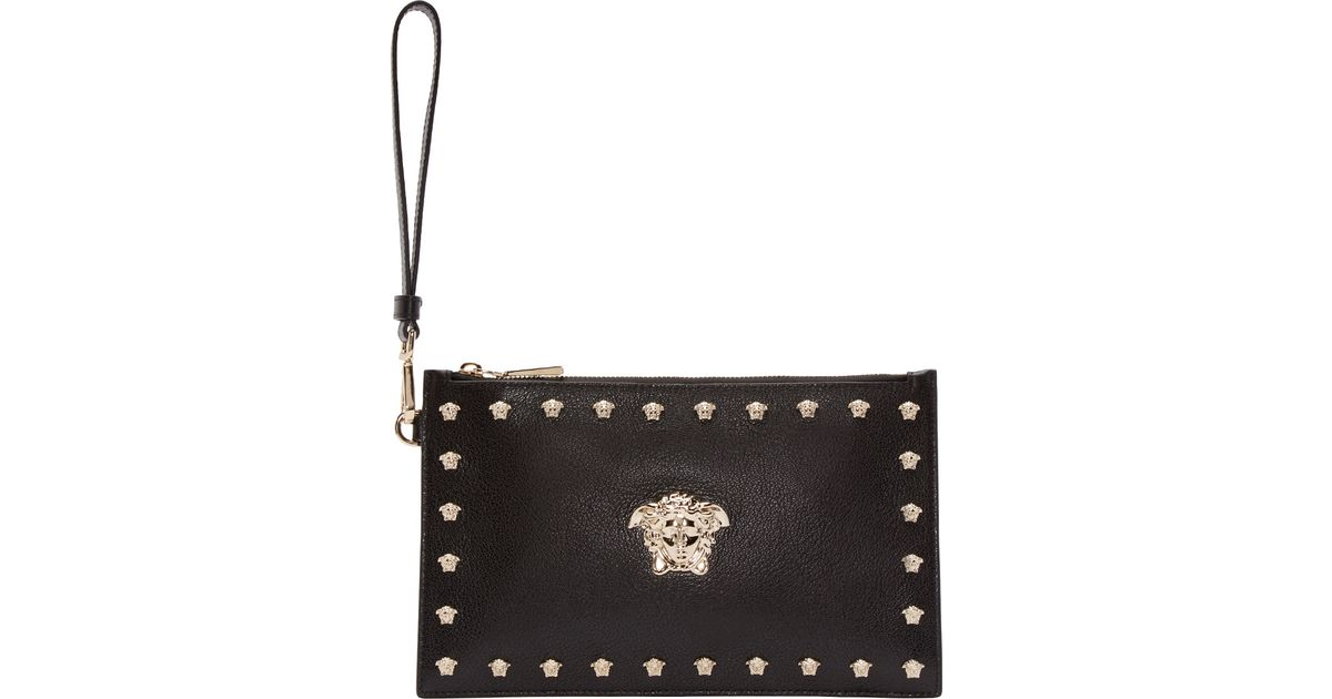 Lyst - Versace Black Leather Medusa Pouch in Black b0992f0617537