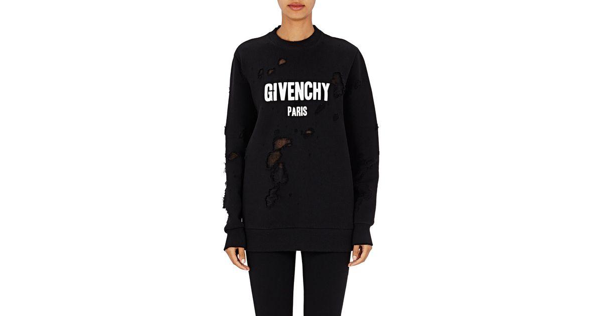 47369f6608f179 Givenchy Paris Destroyed Sweatshirt in Black - Lyst