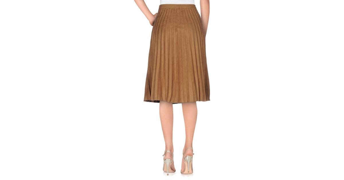 only knee length skirt in brown lyst