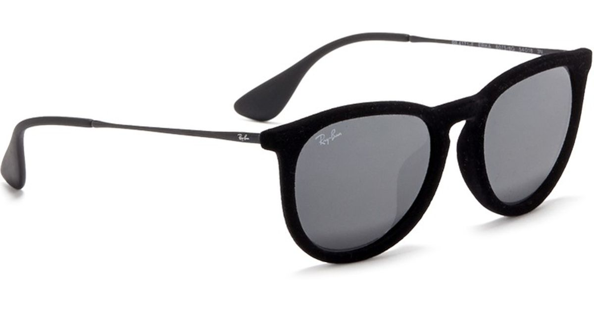 Lyst - Ray-Ban  Erika  Velvet Wire Rim Mirror Sunglasses in Black d54d63dc38