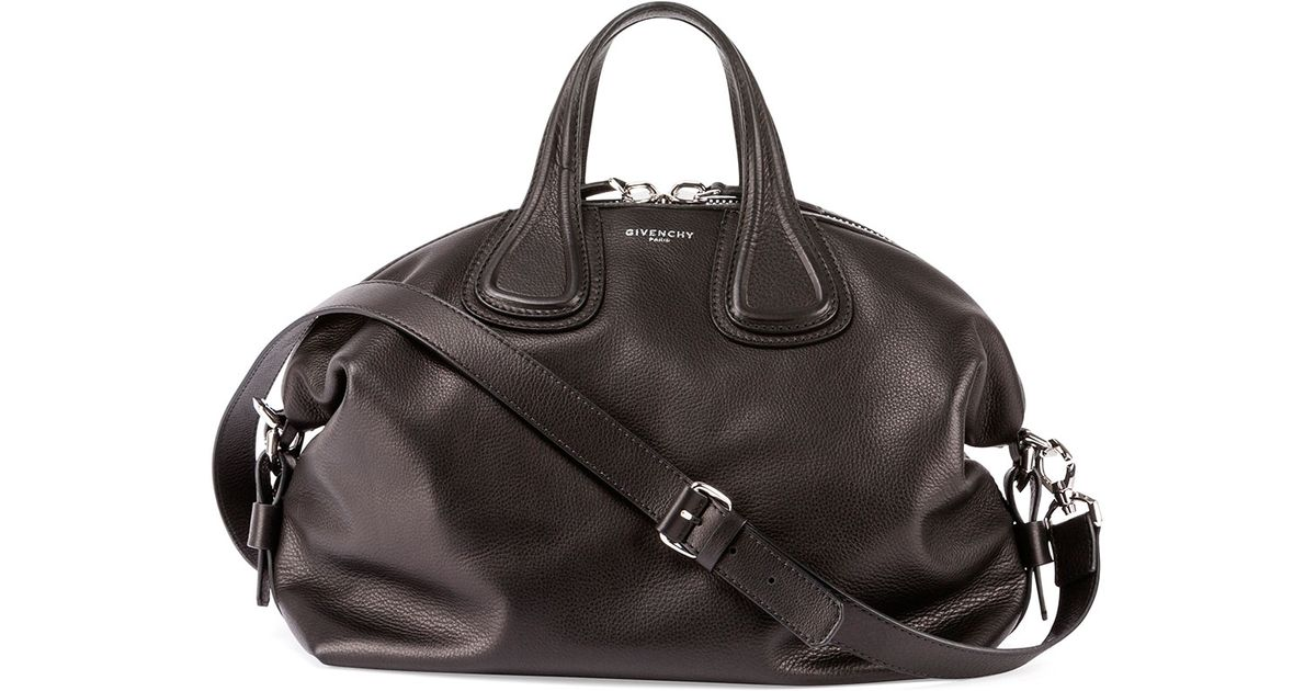 1ec101022d Lyst - Givenchy Nightingale Medium Waxy Leather Satchel Bag in Black