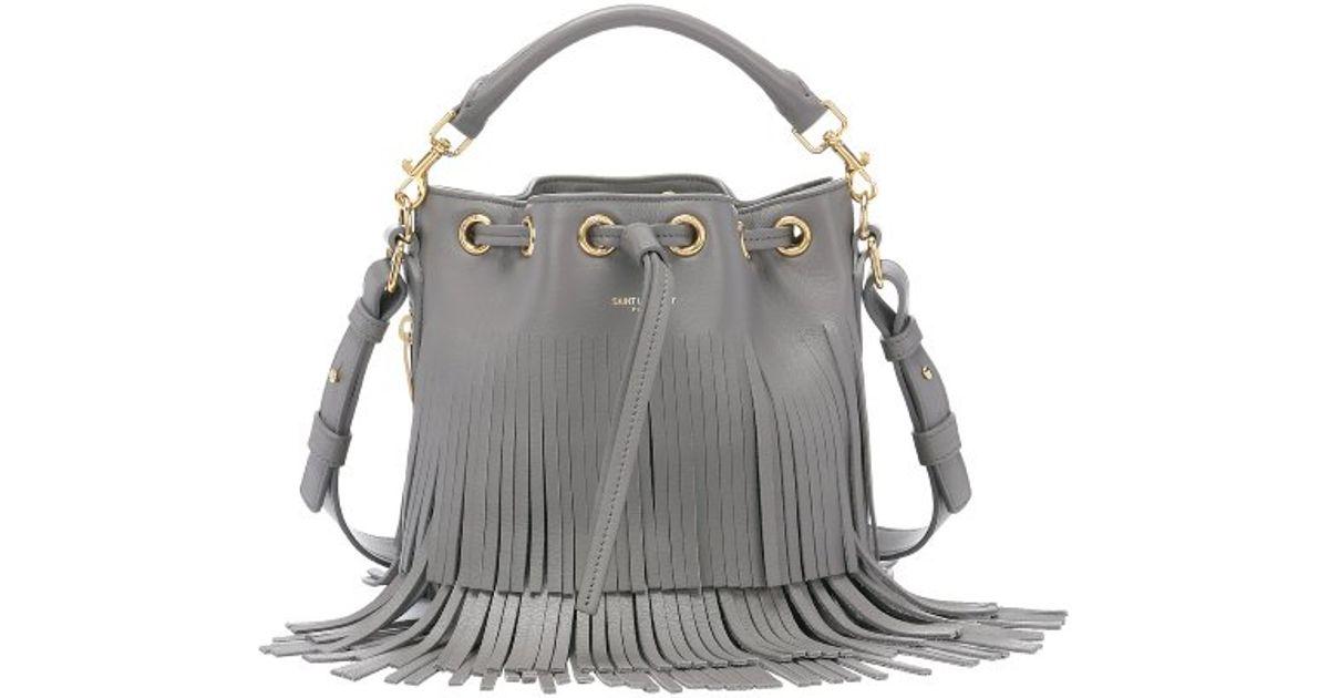 buy ysl bag online - emmanuelle small leather fringe hobo bag, white