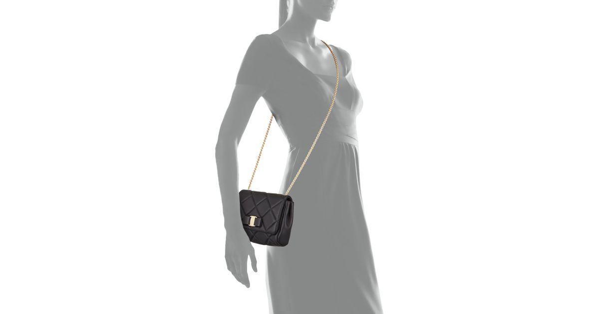 Lyst - Ferragamo Miss Vara Bow Quilted Crossbody Bag in Black 9f5607ece4024
