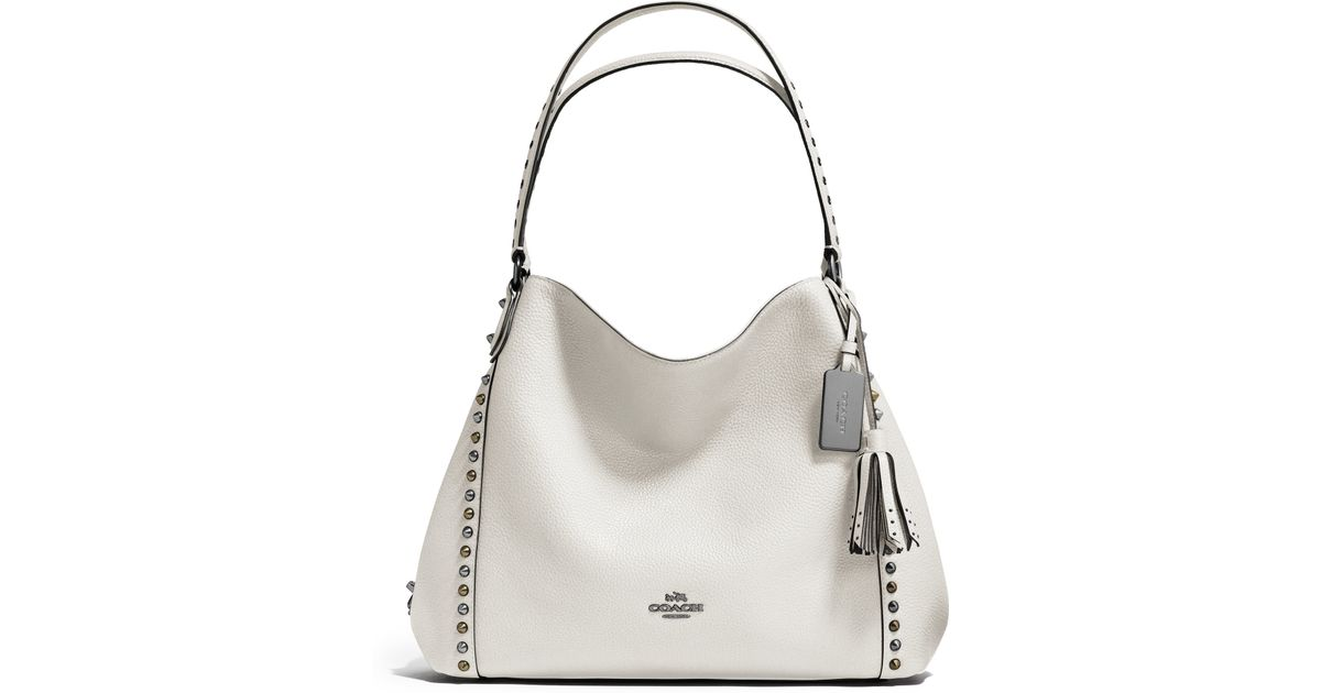 Coach Edie Studded Leather Shoulder Bag in White | Lyst