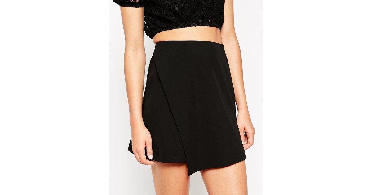 Asos A Line Wrap Mini Skirt in Black | Lyst