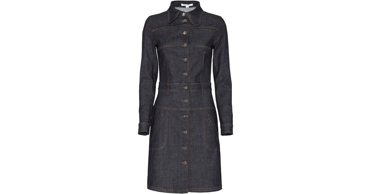 8bec890cff Lyst - Carven Collared Denim Dress in Black