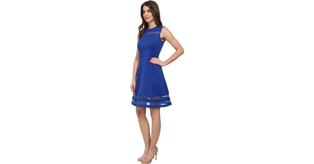 4882d83a65c Calvin Klein Fit And Flare With Illusion Stripe Dress in Blue - Lyst