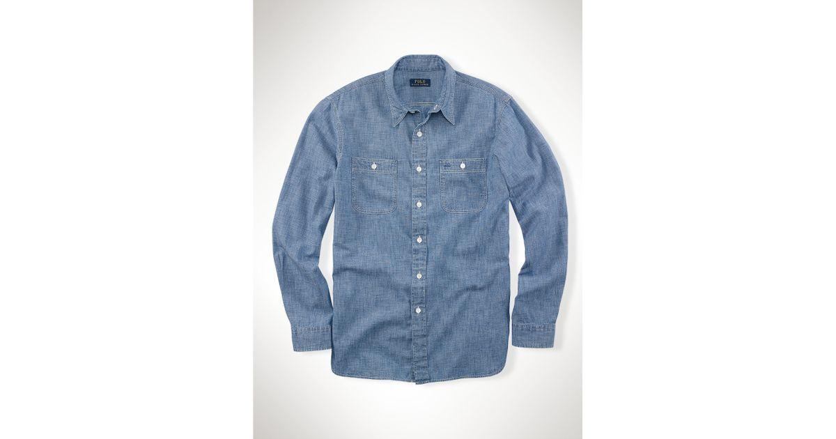 e32faa2cb22 ... ebay lyst polo ralph lauren cotton chambray shirt in blue for men fea71  3357f