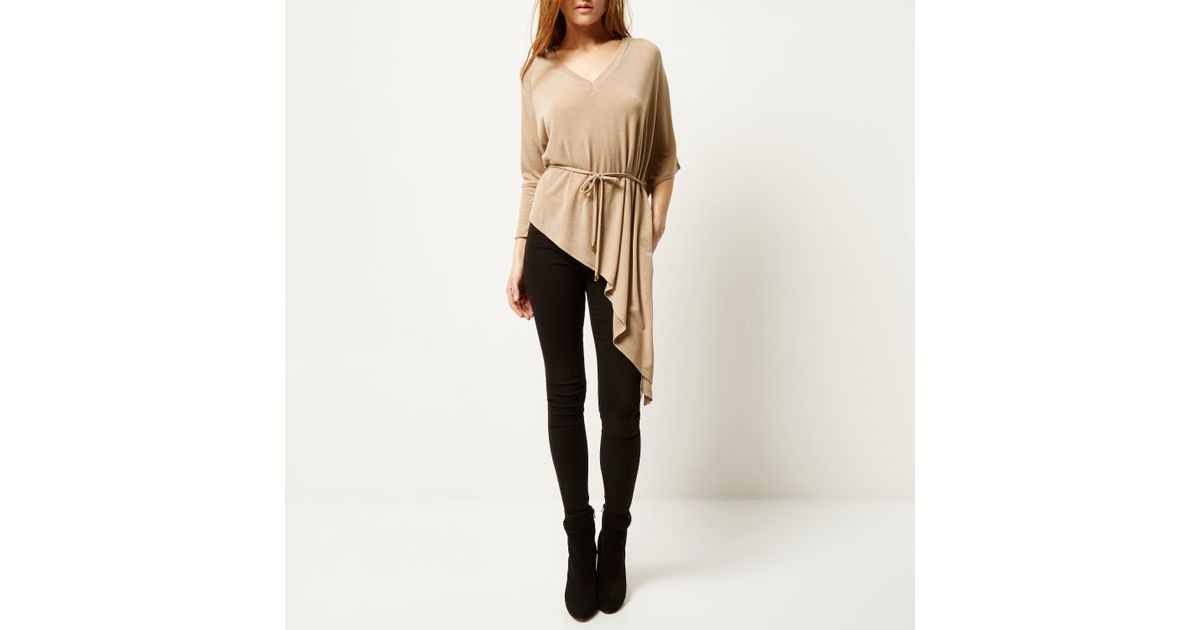 47b47c615df2d2 Lyst - River Island Beige Belted V-neck Asymmetric Knitted Top in Natural