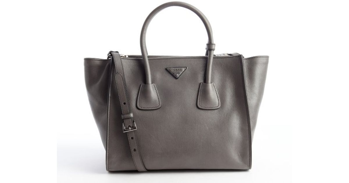 e50f0b2dc115 ... germany lyst prada grey leather top handle trapeze bag in gray c89ff  45327