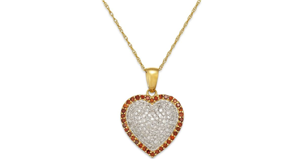 Macy's White And Red Diamond Heart Pendant Necklace In 10k ...