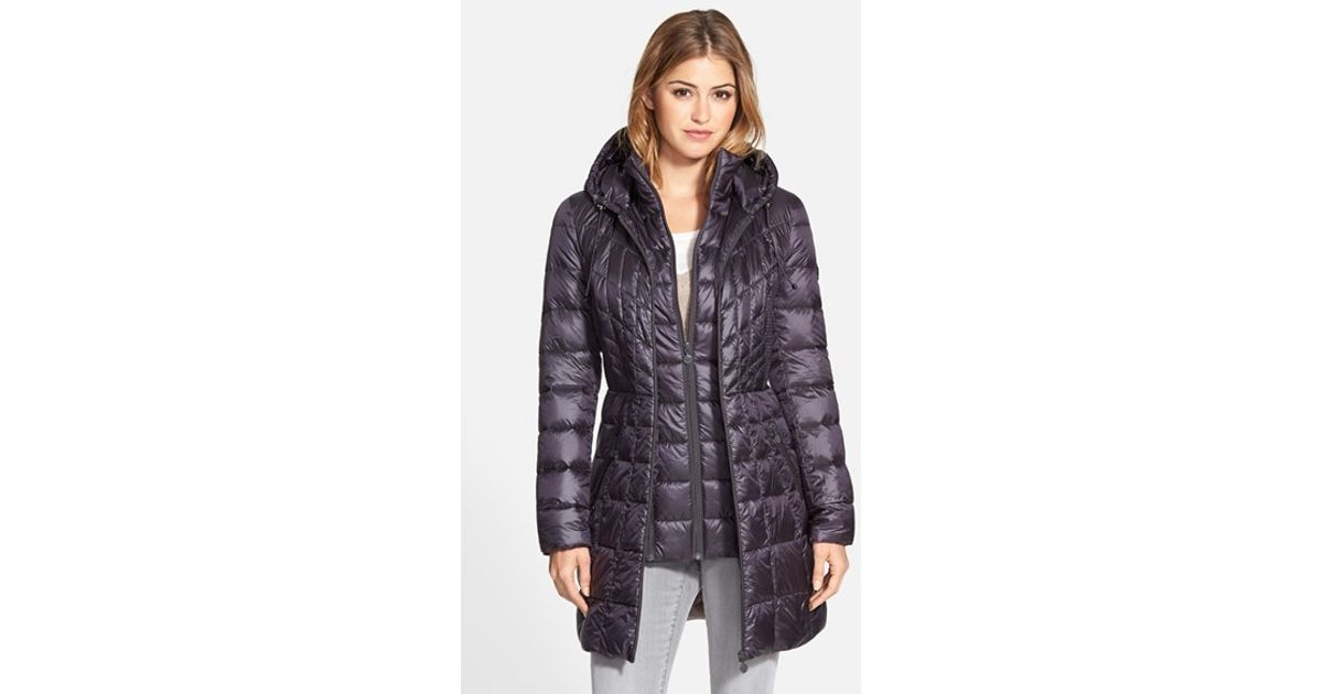 Lyst - Bernardo Packable Hooded Down   Primaloft Fill Coat With Contrast  Inset Bib 45038fd31