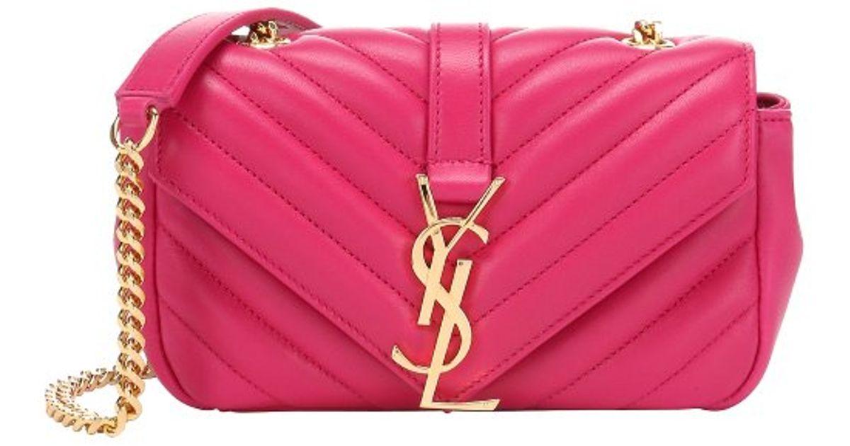 Lyst - Saint Laurent Fuchsia Matelasse Leather  Classic Baby Monogram  Chain  Shoulder Bag in Pink e6ad4ef6dbeb4