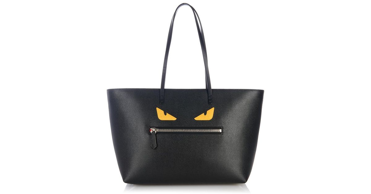 26f7013880c4 Lyst - Fendi Roll Monster Leather Tote in Black